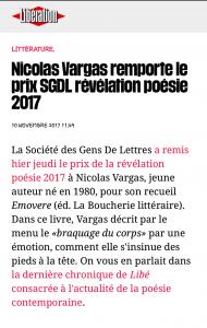 SGDL, prix Révélation Poésie 2017
